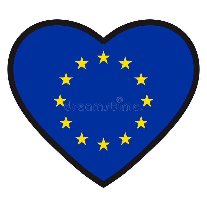 Flaga Europejski zjednoczenie w formie serca z kontrastować co ilustracja wektor