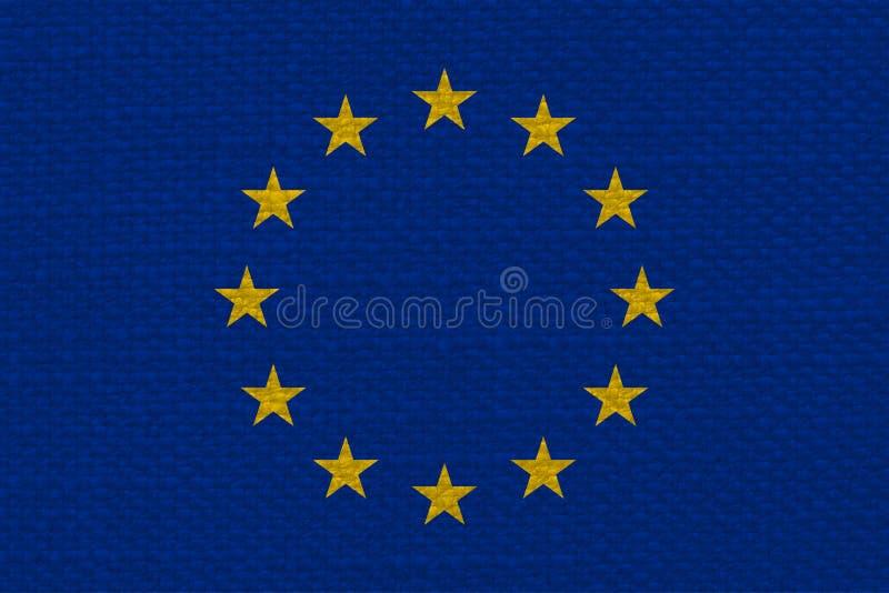 flaga Europejski zjednoczenie z tkaniny teksturą (UE) obrazy royalty free