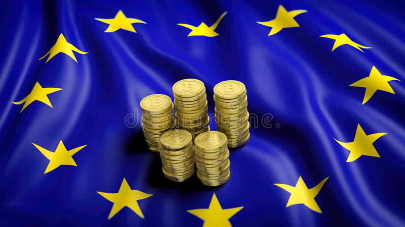 Flaga Europejski zjednoczenie z złotymi Bitcoin stertami ilustracji
