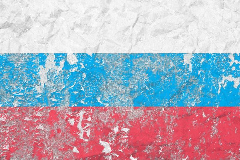 Flaga federacja rosyjska ilustracyjny lelui czerwieni stylu rocznik stara tekstury ściany Zatarty tło ilustracja wektor