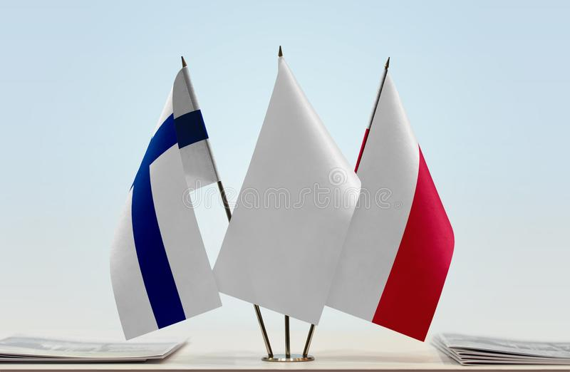 Flaga Finlandia i Polska fotografia stock