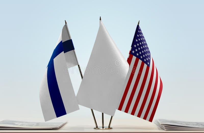 Flaga Finlandia i usa zdjęcie royalty free