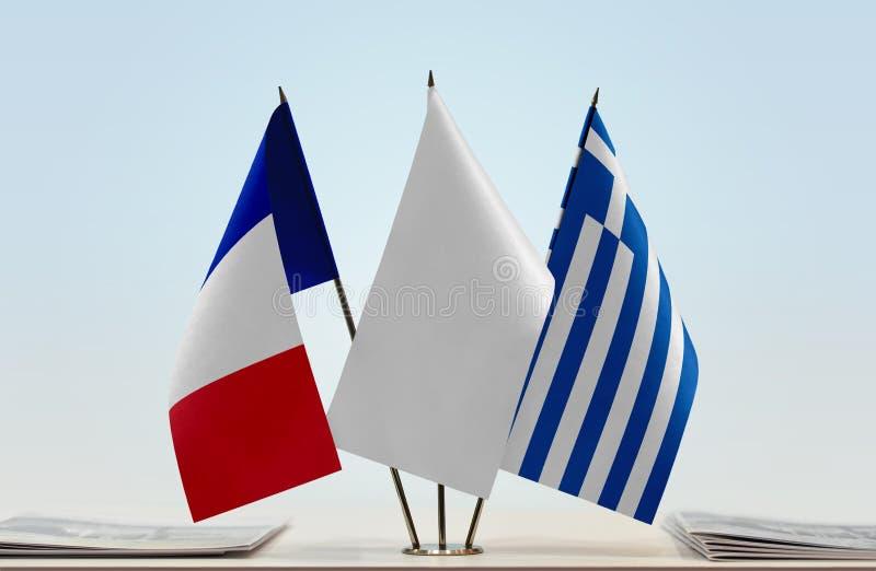 Flaga Francja i Grecja obraz stock
