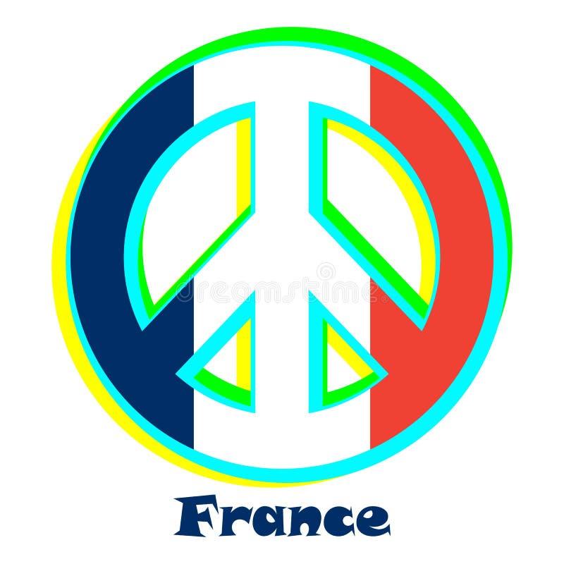 Flaga Francja jako znak pacyfizm ilustracja wektor