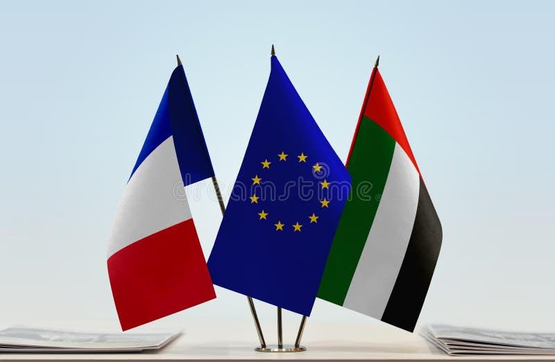 Flaga Francja UAE i UE zdjęcie royalty free