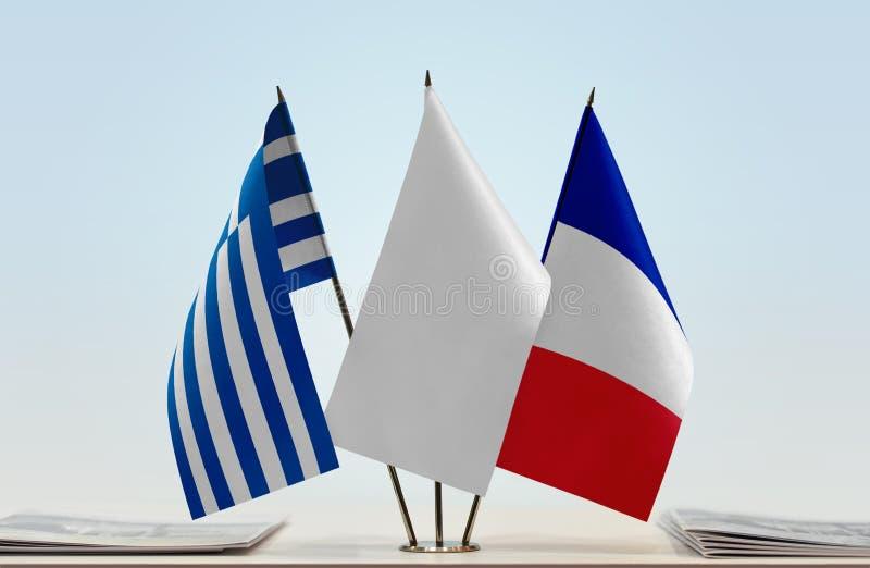 Flaga Grecja i Francja obraz royalty free