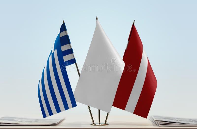 Flaga Grecja i Latvia fotografia royalty free