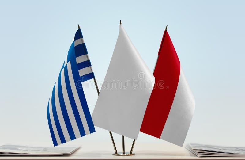 Flaga Grecja i Monaco zdjęcia royalty free