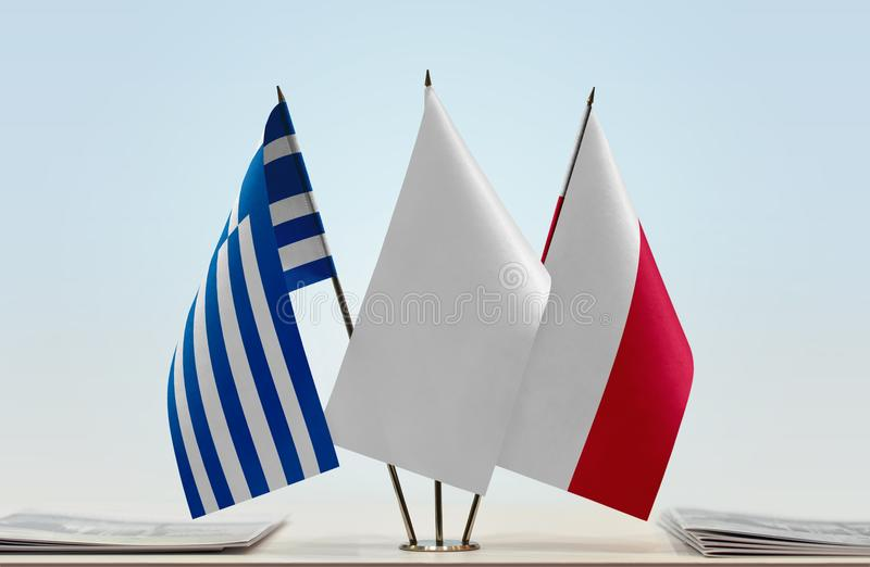 Flaga Grecja i Polska zdjęcia stock