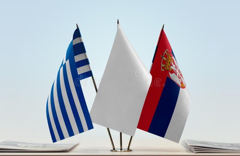 Flaga Grecja i Serbia zdjęcie stock