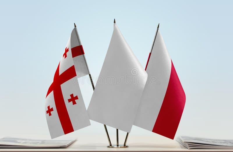 Flaga Gruzja i Polska obraz stock