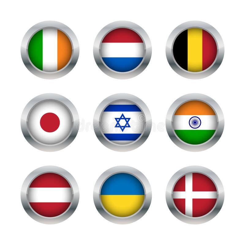 Flaga guziki ustawiają 2 royalty ilustracja