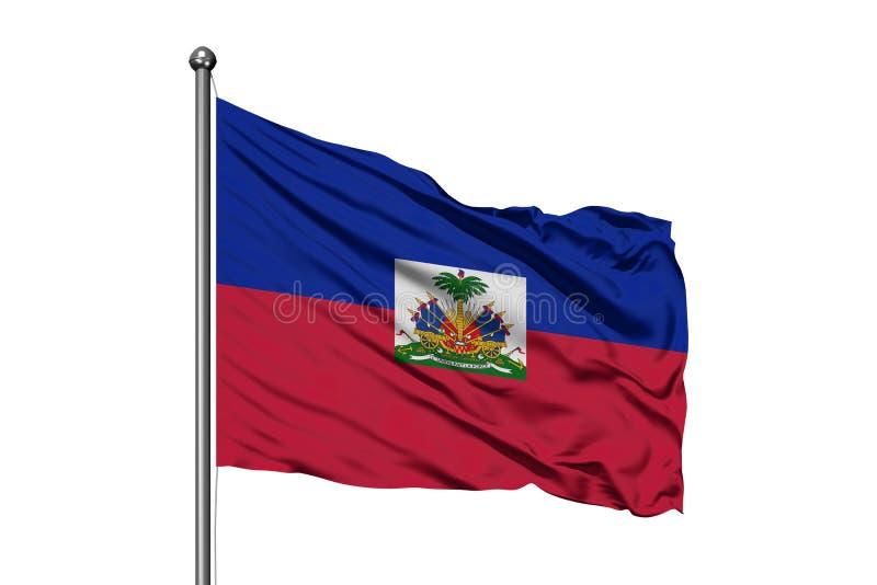 Flaga Haiti falowanie w wiatrze, odosobniony biały tło Haita?ska flaga obrazy stock