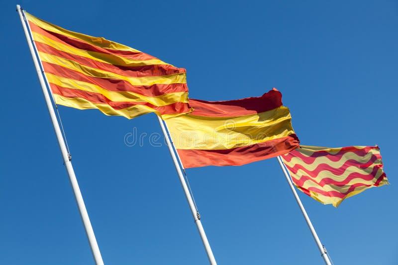 Flaga Hiszpania, Catalonia i Tarragona miasto, zdjęcia stock