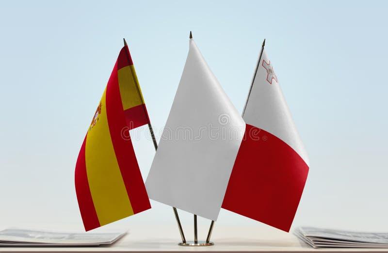 Flaga Hiszpania i Malta obraz stock