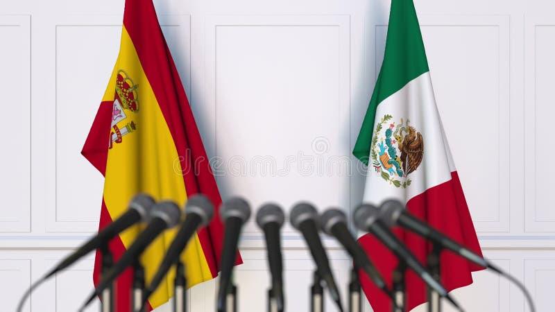 Flaga Hiszpania i Meksyk przy międzynarodowym spotkaniem lub konferencją świadczenia 3 d ilustracji