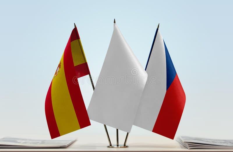 Flaga Hiszpania i republika czech zdjęcia stock