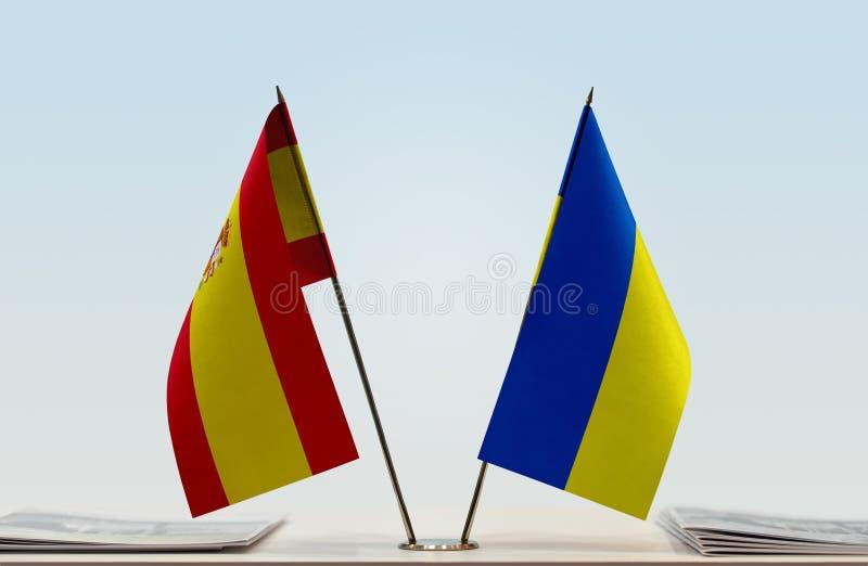 Flaga Hiszpania i Ukraina zdjęcie royalty free