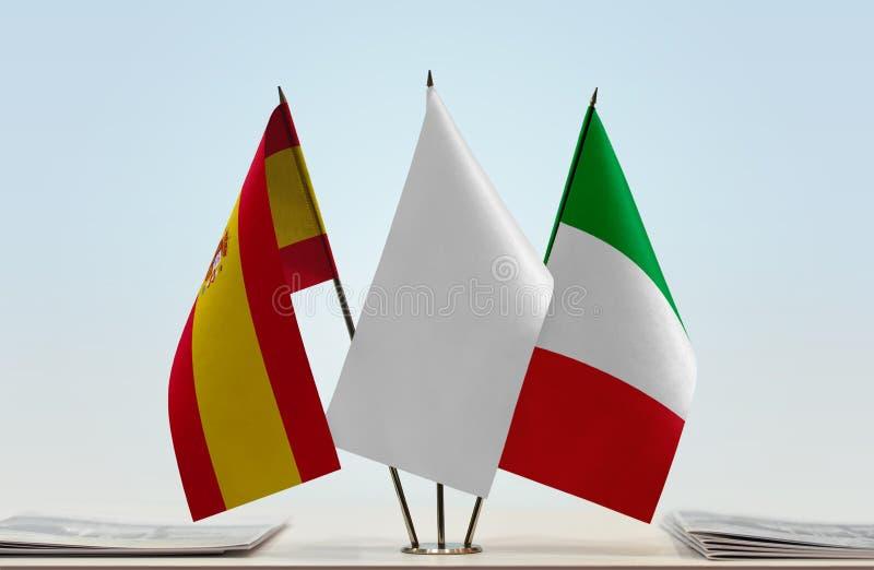 Flaga Hiszpania i Włochy zdjęcia stock