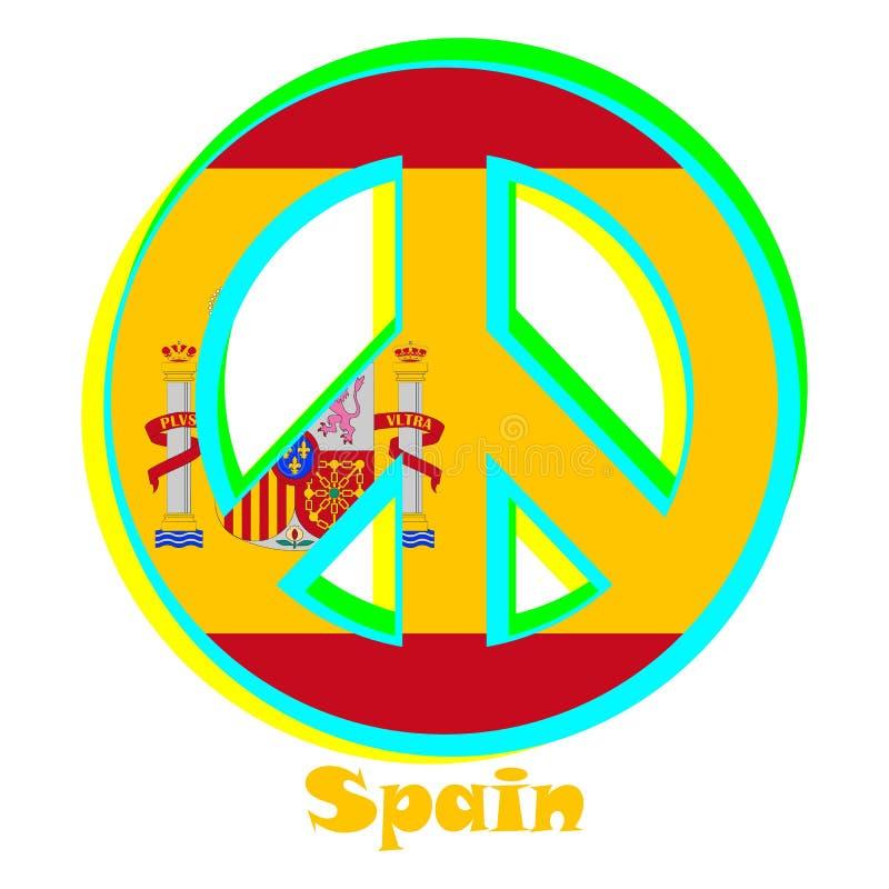 Flaga Hiszpania jako znak pacyfizm ilustracja wektor