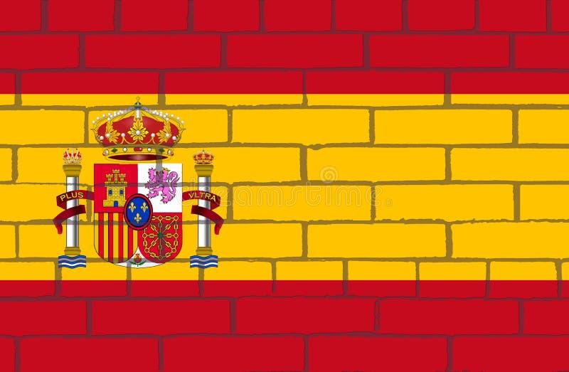 Flaga Hiszpania na ścianie, gdy ono definiuje w Hiszpańskiej konstytuci 1978 ilustracja wektor