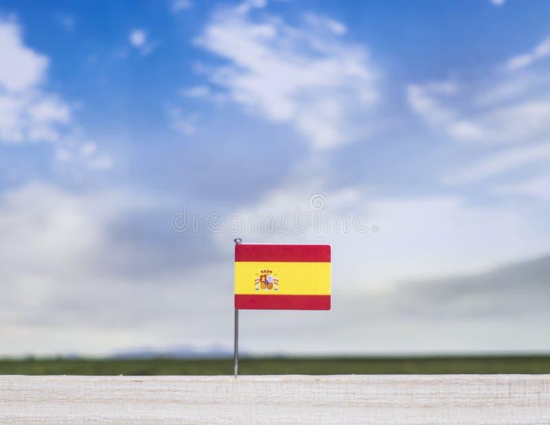 Flaga Hiszpania z szeroką łąką i niebieskim niebem za nim obrazy royalty free