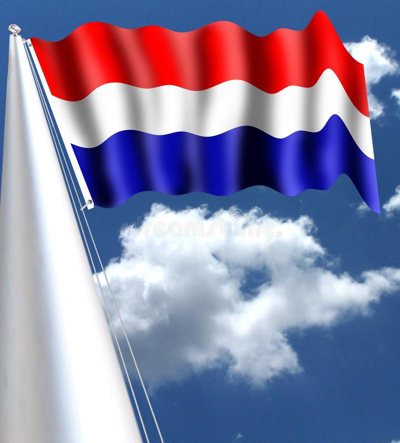 Flaga holandie dzieli w trzy horyzontalnego lampasa ten sam gęstość Kolory flaga są czerwienią, białym ilustracji