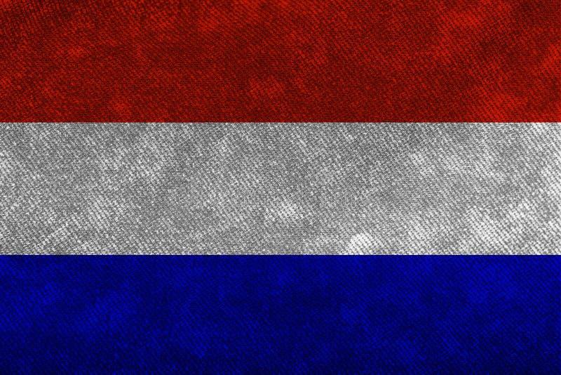 Flaga holandie gęsty szorstki drelich Tła i tekstury ilustracja wektor