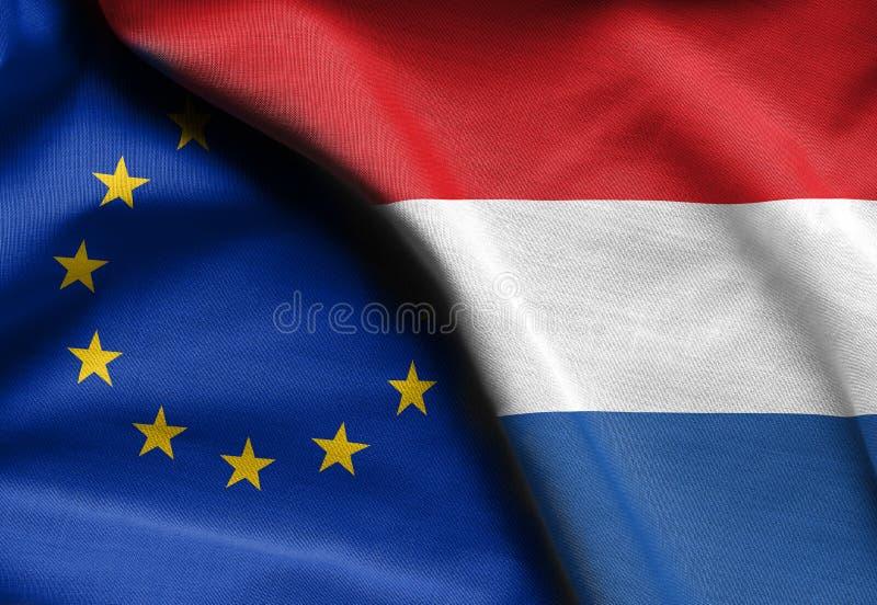 Flaga holandie i europejski zjednoczenie zdjęcie stock