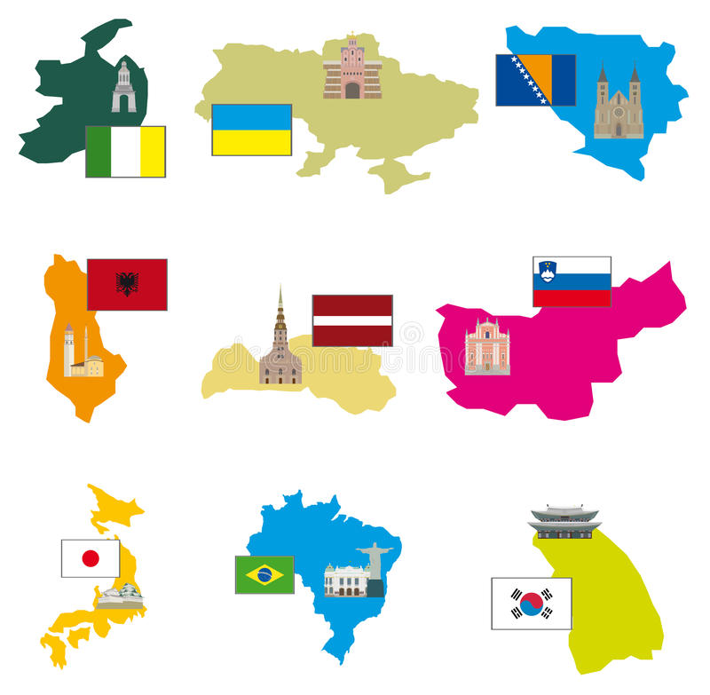 Flaga i kraje royalty ilustracja