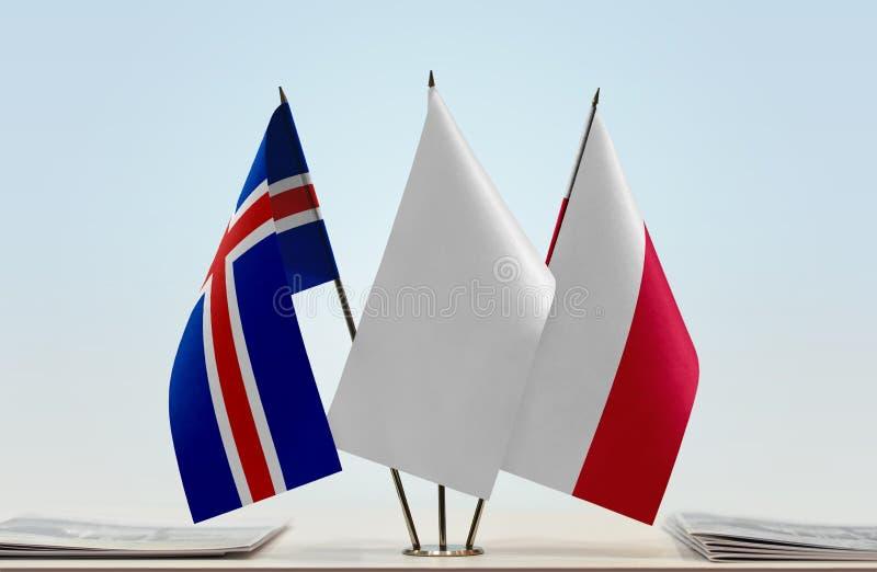 Flaga Iceland i Polska obraz royalty free
