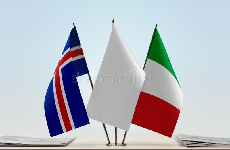 Flaga Iceland i Włochy fotografia stock