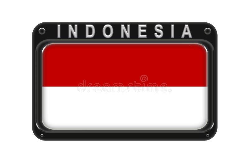 Flaga Indonezja w ramie z nitami na białym backgrou ilustracja wektor