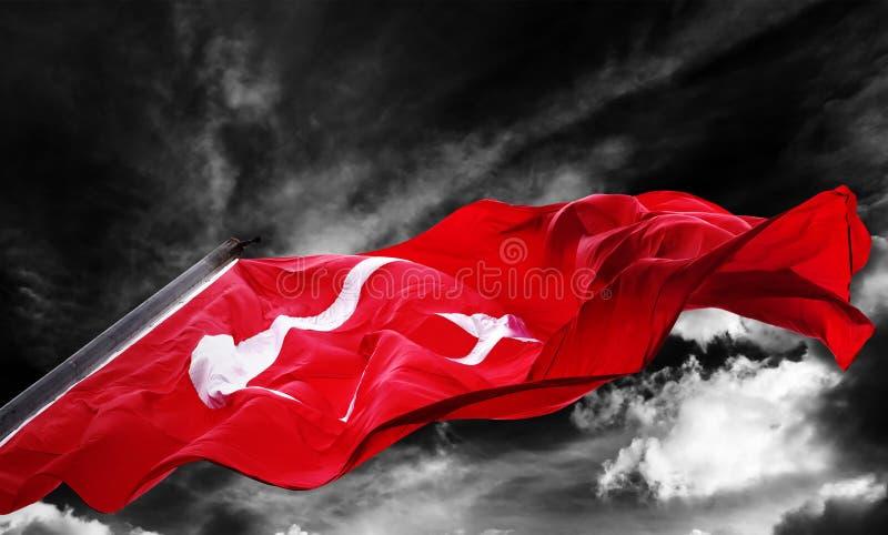 Flaga Indyczy falowanie przeciw czarny i biały niebu zdjęcia royalty free