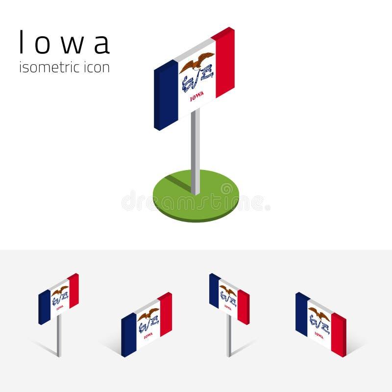 Flaga Iowa stanu usa, wektoru 3D isometric płaskie ikony ilustracja wektor
