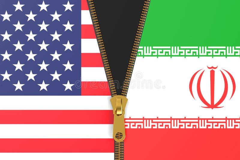 Flaga Iran i usa, polityczny pojęcie royalty ilustracja