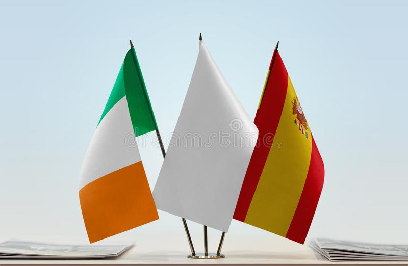 Flaga Irlandia i Hiszpania zdjęcia stock