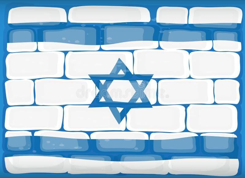 Flaga Izrael malował na ścianie ilustracji