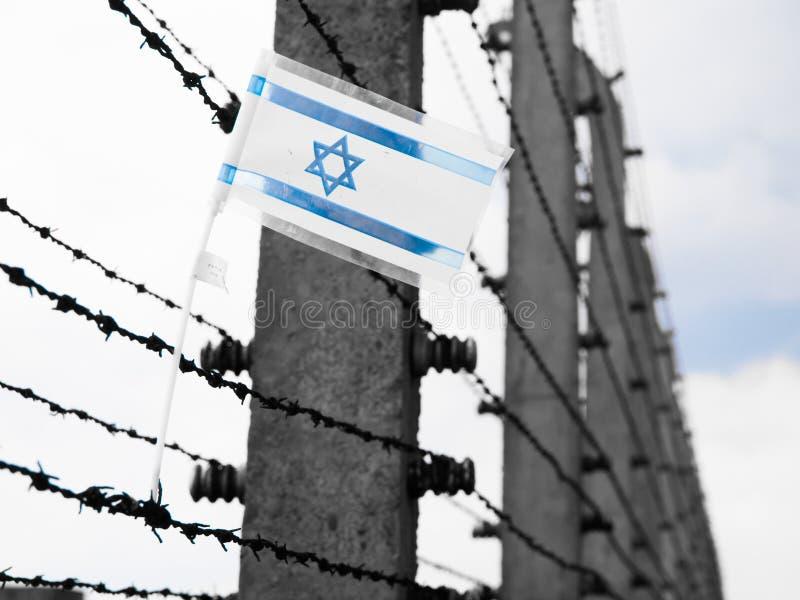 Download Flaga Izrael na barbwire zdjęcie stock. Obraz złożonej z koncentracja - 65226364