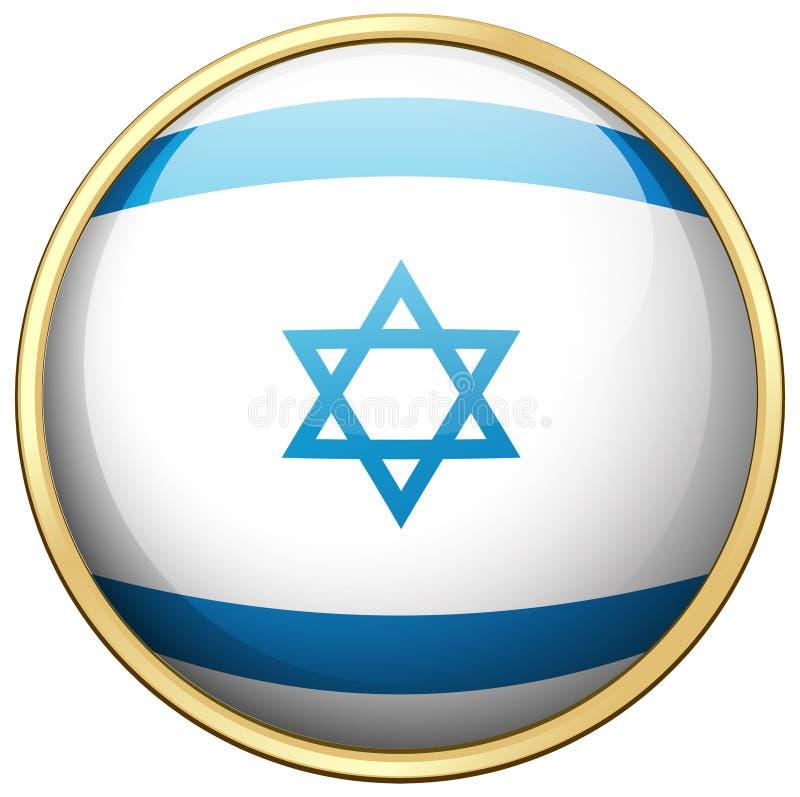 Flaga Izrael na round odznace ilustracja wektor