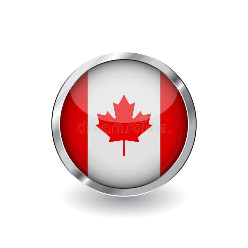 Flaga Kanada, guzik z metal ramą i cieniem canada zaznacza wektorową ikonę, odznakę z glansowanym skutkiem i kruszcową granicę, r royalty ilustracja