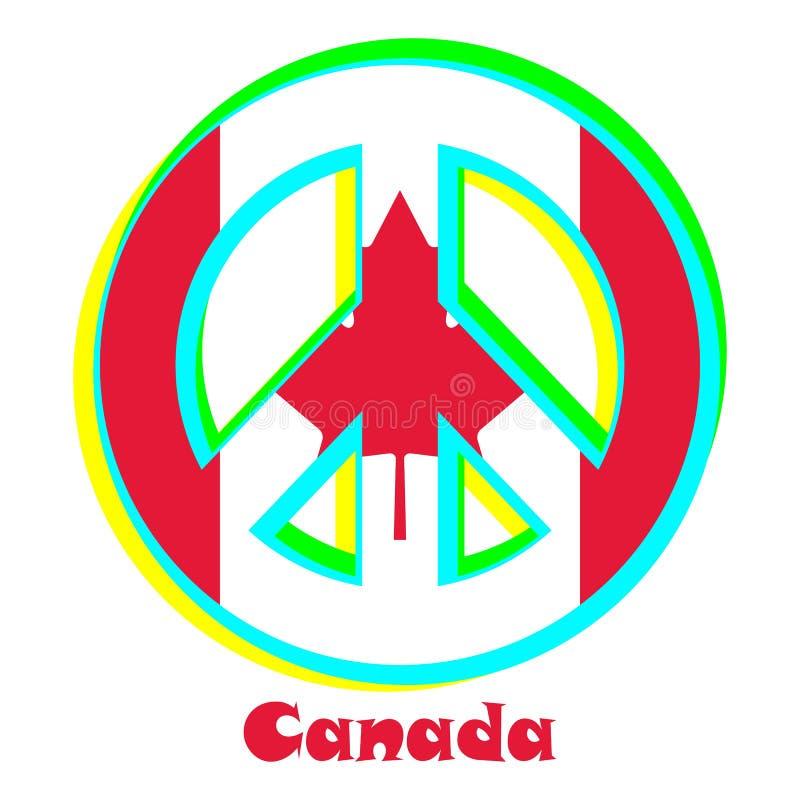 Flaga Kanada jako znak pacyfizm ilustracja wektor