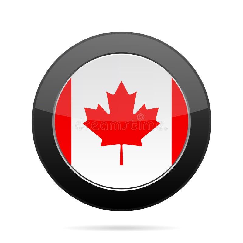 flaga kanady Błyszczący czarny round guzik royalty ilustracja