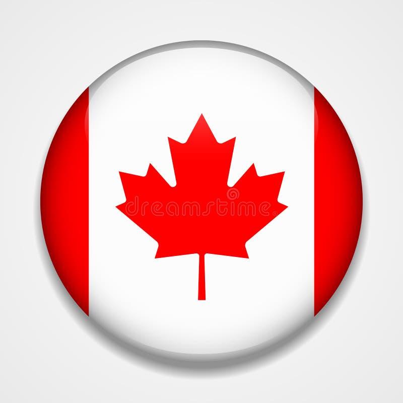 flaga kanady Round glansowana odznaka royalty ilustracja