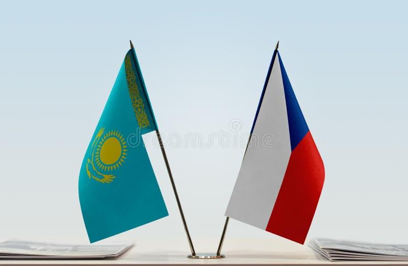 Flaga Kazachstan i republika czech zdjęcie royalty free