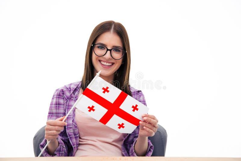 Flaga; kobieta; dziewczyna; georgia; georgians; holender; wspaniały; obywatel obrazy royalty free