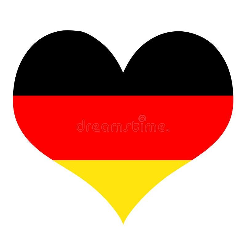 Flaga kocham Niemcy serce royalty ilustracja