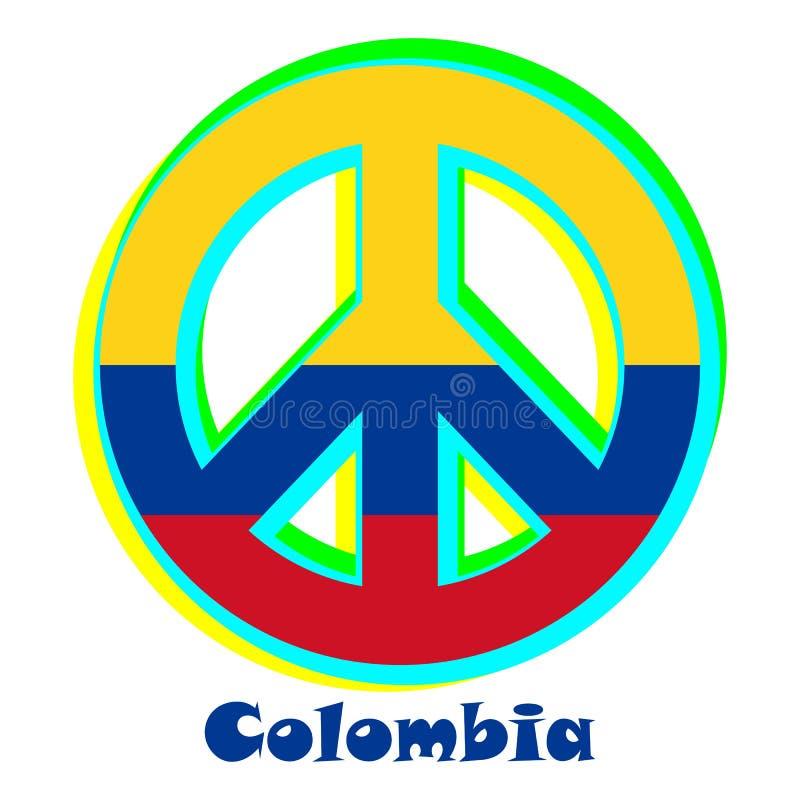 Flaga Kolumbia jako znak pacyfizm royalty ilustracja