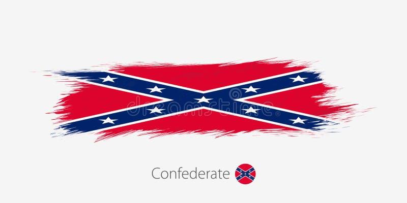 Flaga konfederat, grunge abstrakta muśnięcia uderzenie na szarym tle ilustracji