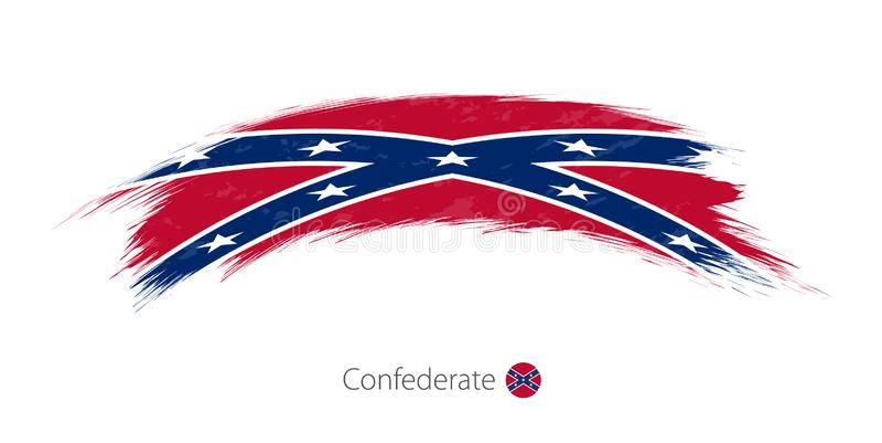 Flaga konfederat w zaokrąglonym grunge muśnięcia uderzeniu royalty ilustracja